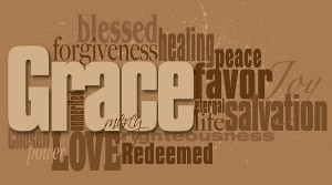 Graphic word montage of the Christian concept of grace composed in neutral earthy tones. Use as overall background or as featured art.